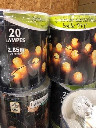 Guirlande électrique, 20 lampes boule PVC