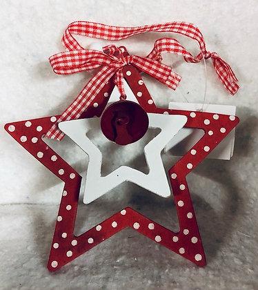 Décoration à suspendre bois forme étoile de noël