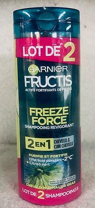 Lot de 2 Shampooings Effet  -2°C aux extraits de citron vert Fructis FreezeForce