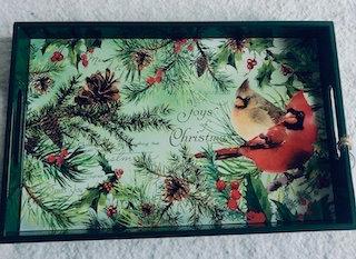Plateau en bois laqué MM Christmas pine