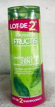 Lot de 2 Shampooings Fortifiant 2en1 Fructis Anti pelliculaire