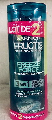 Lot de 2 Shampooing Revigorant 3en1 Aloe Vera - Fructis Freeze Force