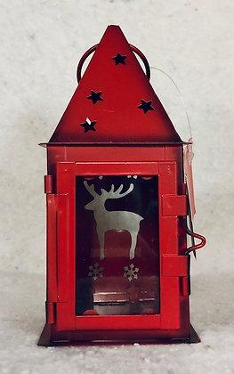 Photophore lanterne métal et verre rouge