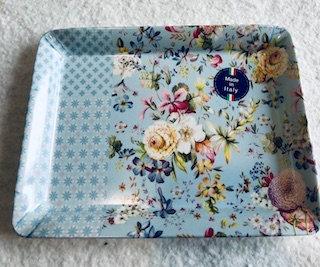 Plateau MM bleu motif fleurs et carreaux de ciment