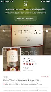 18 bouteilles Tutiac Bordeaux rosé 2018