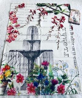 Torchon 100% coton Fontaine et Fleurs
