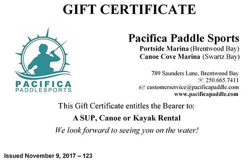 Gift Certificate (Rentals)