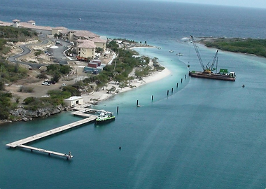 pier construction sta. barbaba beach resort curacao caribbean crane pilings