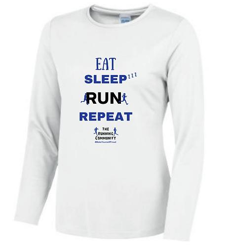 Women's Tech Long Sleeve Tops - Eat, Sleep, Run, Repeat
