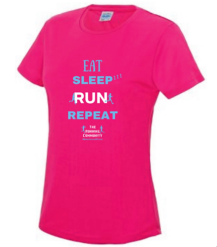 Women's Tech Running T - Eat, Sleep, Run, Repeat