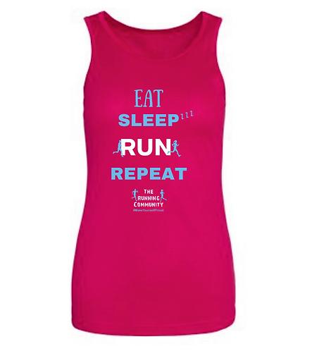 Women's Tech Running Vest - Eat, Sleep, Run, Repeat