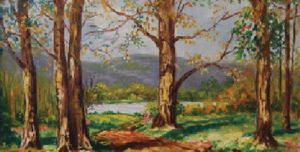 George N. Ottinger | Landscape with Road through Trees
