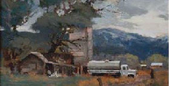 Don Miskin   Landscape with Tanker Truck   SOLD