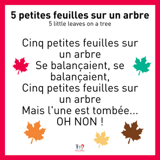 An autumn song and hands-on activity to practise counting to FIVE in French