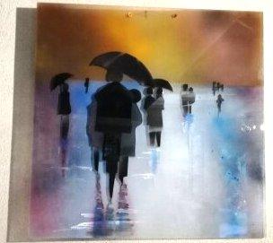 reflets et parapluies 50x50