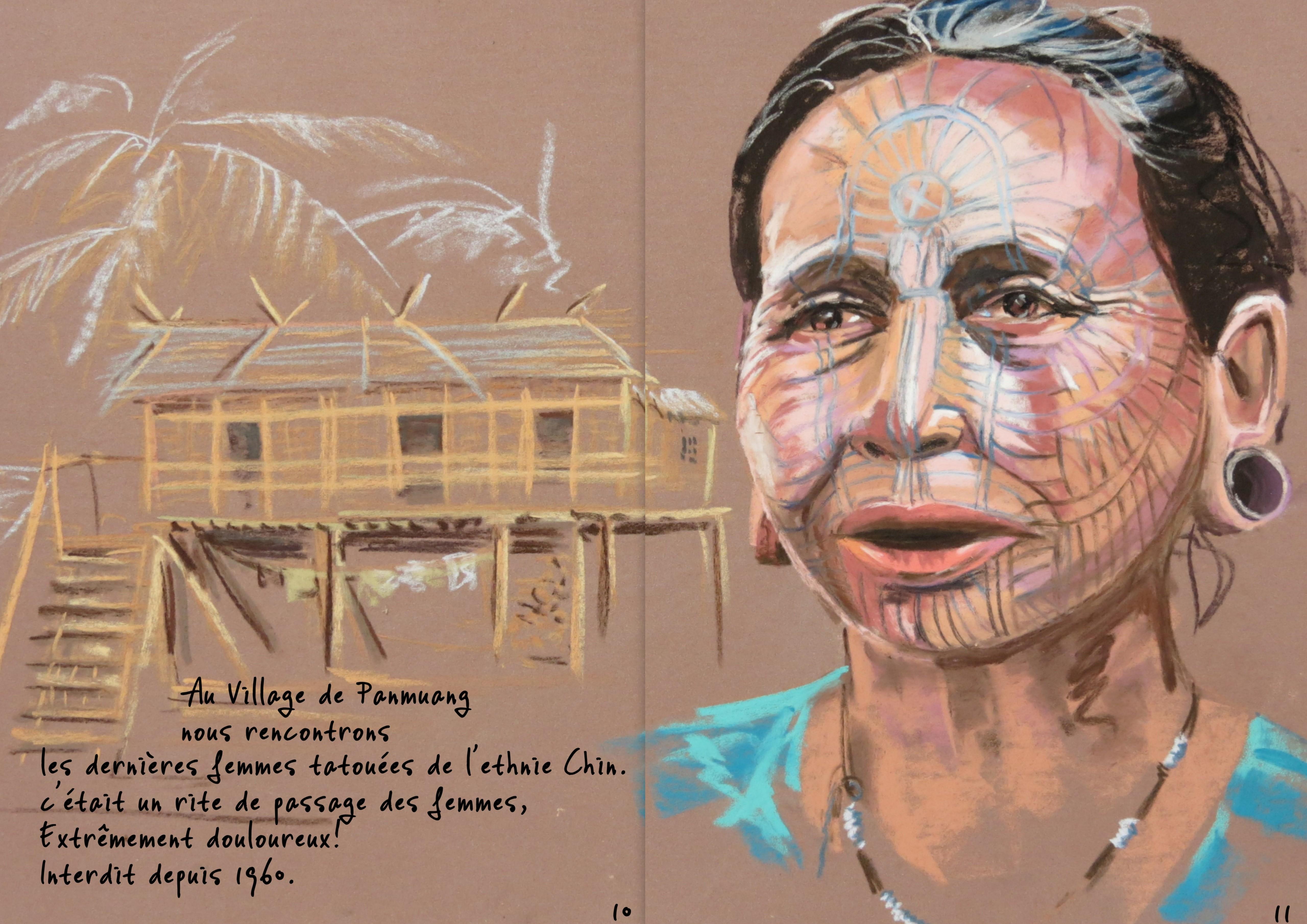 Femme tatouée Myanmar 250€