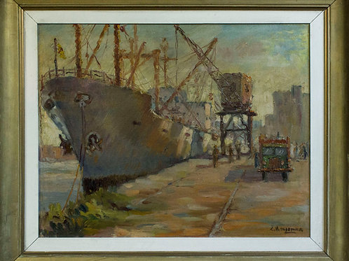 Barco y actividad en el puerto