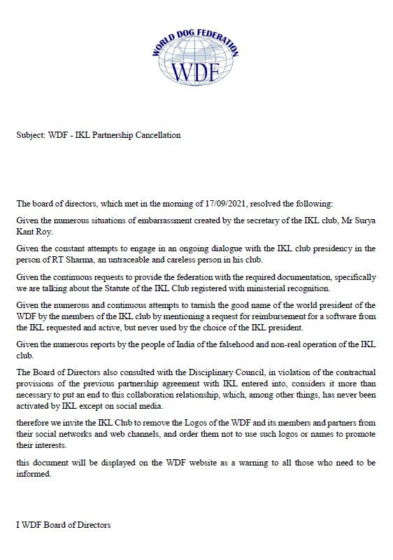 Expulsion of the IKL club