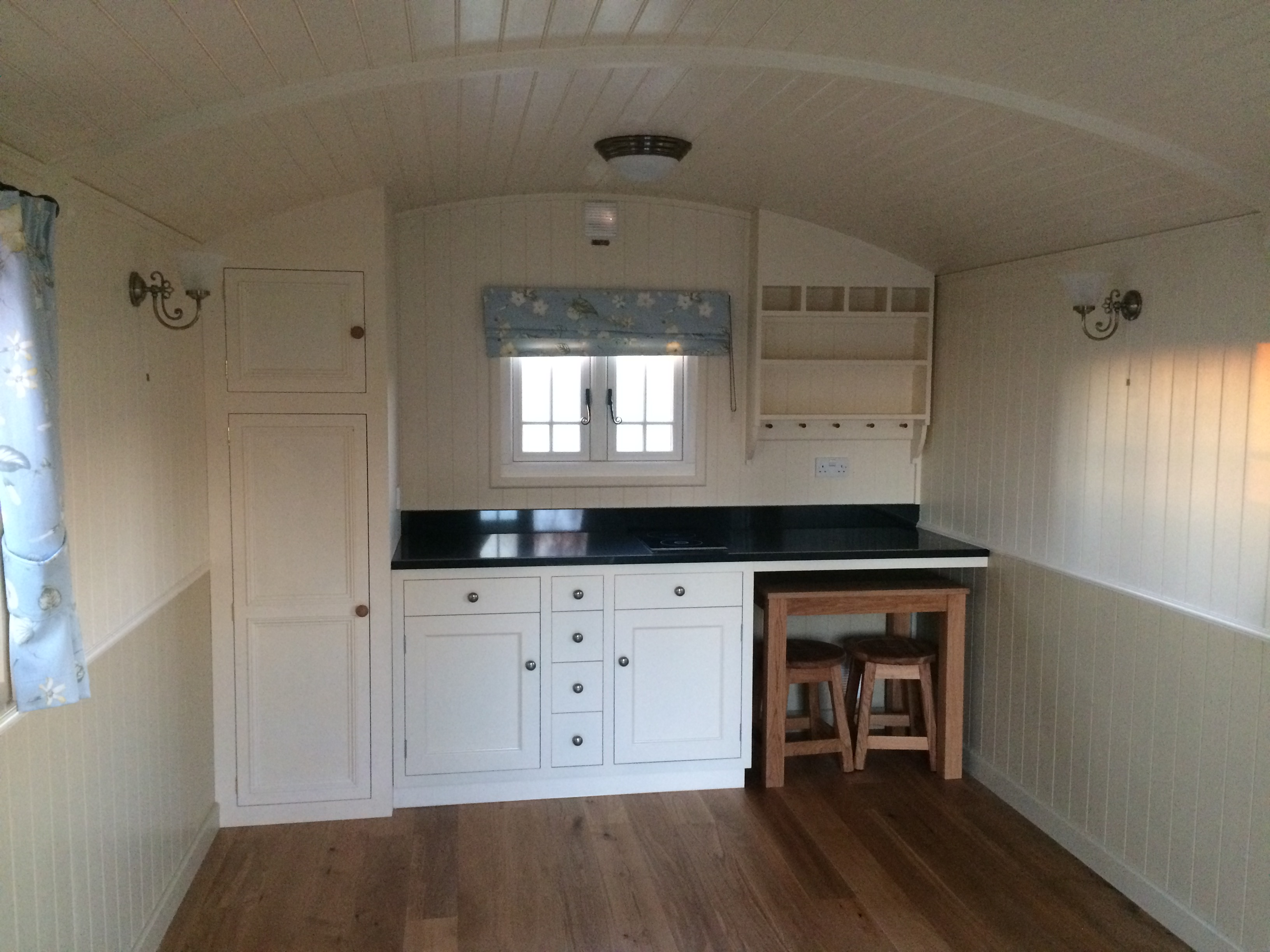 End kitchen in a French gypsy caravan