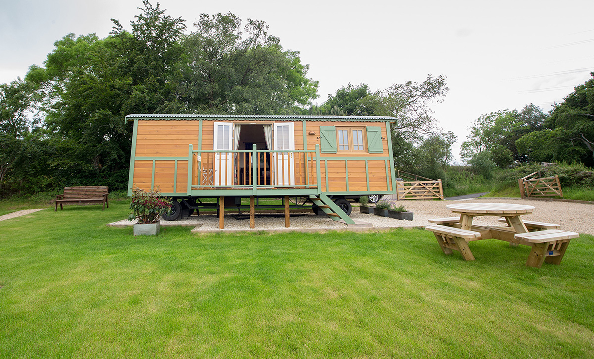 Showmans caravan with veranda