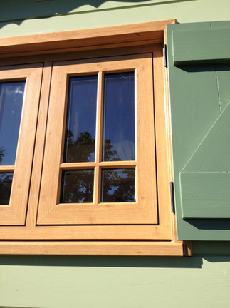 Solid larch shutters