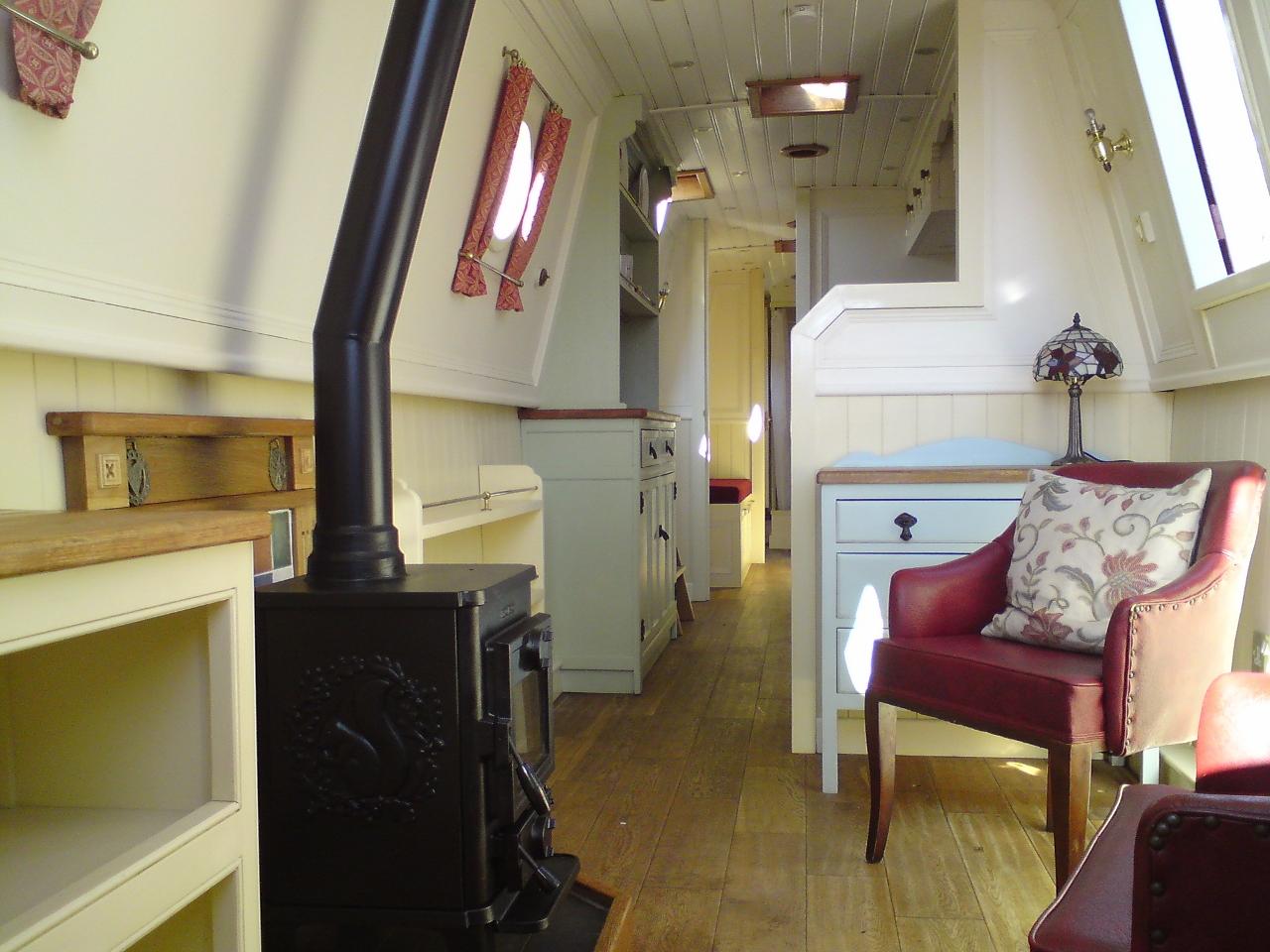narrowboat interior with woodburner