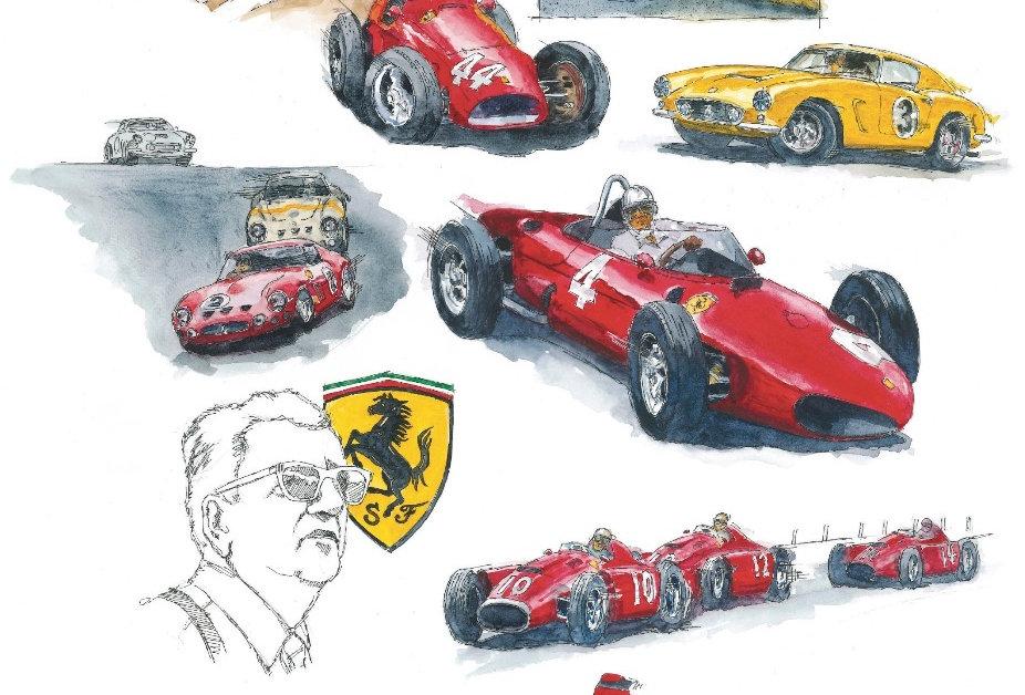 Enzo Ferrari Montage Print