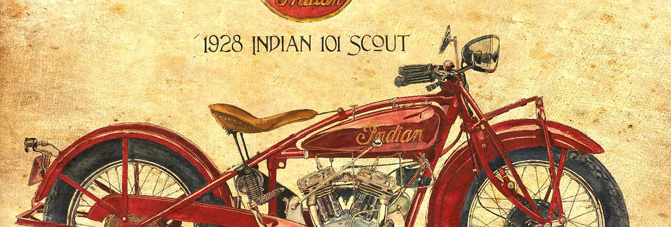1928 Indian Scout Antiqued Print