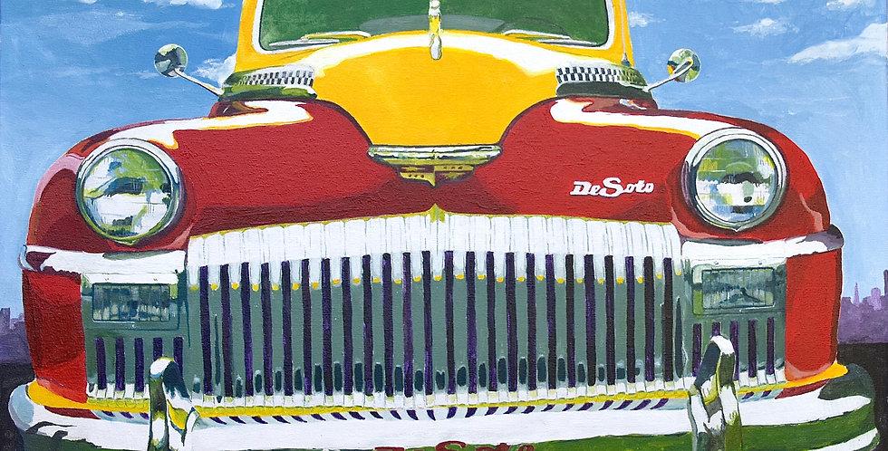 Vintage Car Sunshine Taxi Acrylic Illustration
