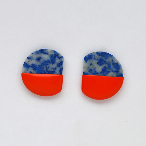 DIPPED lapis lazuli earrings, red
