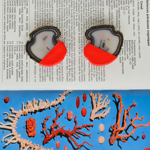 A.GATE POWER earrings white red
