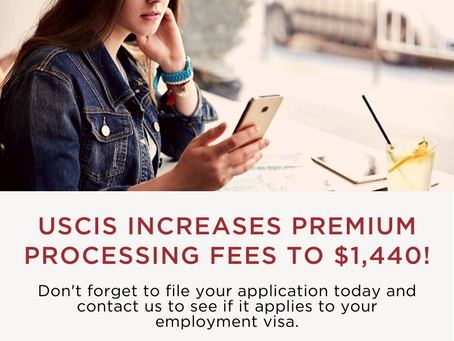 USCIS Raises Premium Processing Fee to $1,440 on December 2, 2019
