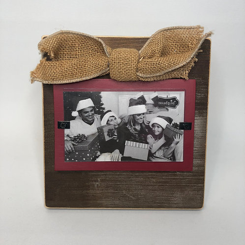 New Mudpie Wood Frame with Burlap Bow