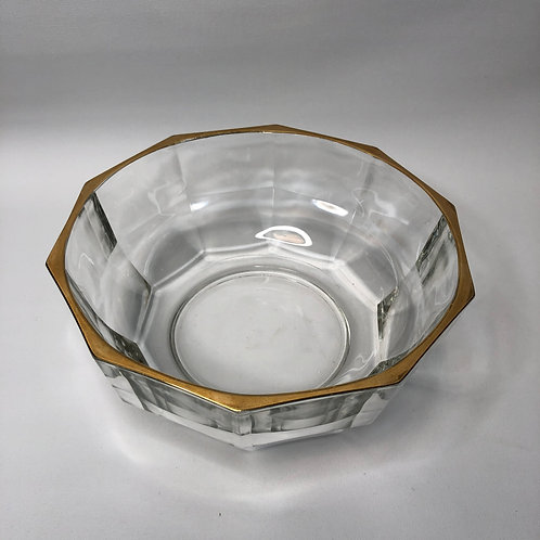 Italian Glass 10 Sided Centerpiece Bowl with Gold Rim