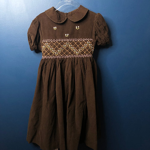 6x Mom & Me Corduroy Smocked Dress