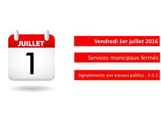 Fête du Canada - Services municipaux fermées