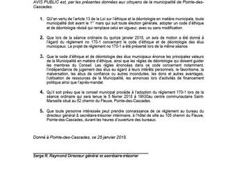 Avis public - Projet de règlement 170-1 : Code d'éthique et de déontologie révisé des élus munic