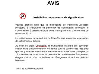 AVIS ! Installation de Panneaux de Signalisation