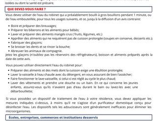 AVIS IMPORTANT | AVIS D'ÉBULLITION PRÉVENTIF