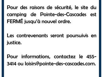 RAPPEL | ACCÈS AU CAMPING DE POINTE-DES-CASCADES