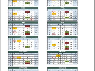 Calendrier des séances du conseil pour 2018