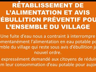 RÉTABLISSEMENT DE L'ALIMENTATION EN EAU POTABLE ET AVIS D'ÉBULLITION PRÉVENTIF