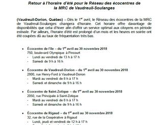 Horaire d'été du Réseau des écocentres de la MRC Vaudreuil-Soulanges