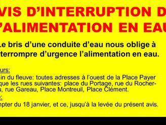 AVIS D'INTERRUPTION DE L'ALIMENTATION EN EAU