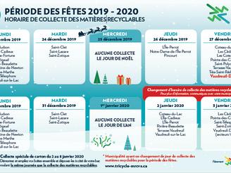 Collecte des matières recyclables de la période des Fêtes 2019-2020