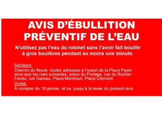 AVIS D'ÉBULLITION PRÉVENTIF DE L'EAU