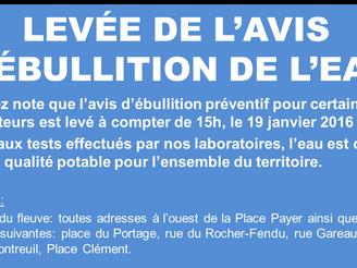 LEVÉE DE L'AVIS PRÉVENTIF D'ÉBULLITION