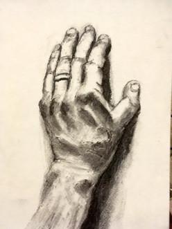 L hand drawn by R