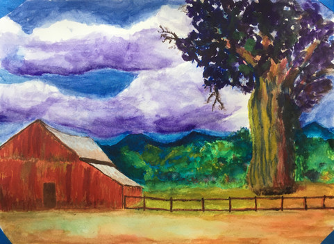 Red barn with tree