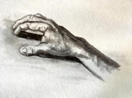 R hand drawn by L